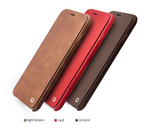"""iPhone 6/Plus Flip Case, Ultra Slim Echt Leder Handytasche von qialino, mit Blenden und Backshell Displayschutzfolie und magnetisches Cover, Leder, Dunkelbraun, 4.7"""" iphone6 Dunkelbraun"""