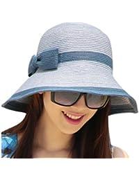 cuddty Bowknot Cap sombrero Panamá para mujer plegable verano mujeres sol visera gorro de viaje playa senderismo Headwear, mixed brown