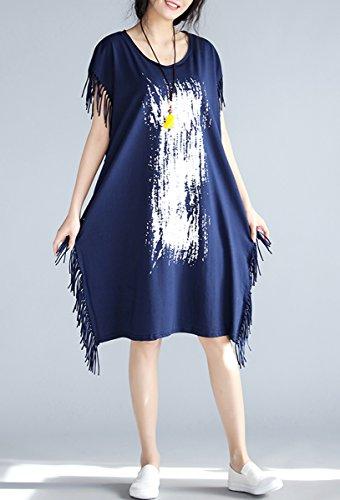 ELLAZHU Damen Sommer Rundhals Bedruckt Lang T-Shirt GA674 A Blau