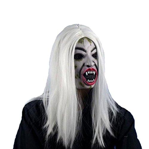 BESTOYARD Halloween Party Maske Lange Perücke Haar Groll Sadako Geist Perücke Gruselig Scary Halloween Cosplay Kostüm Maske für Erwachsene Halloween Party Versorgung (Weiß)