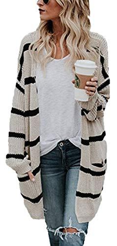 Socluer Strickjacke Damen Cardigan Freizeit Lang Blazer Pullover Mantel Jacke Elegant Strickpullover (Beige XL)