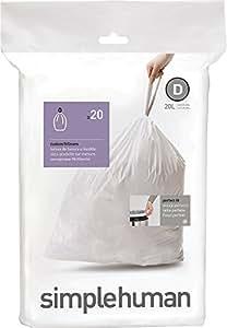 simplehuman -  Code D, Custom Fit Recycling Bin Liners, 20 Pack -  20 Litre