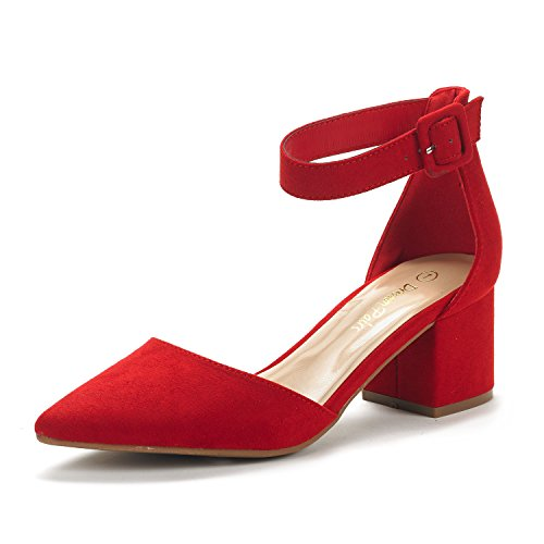 Dream Pairs Annee Zapatos Tacón Bajo Ante Mujer Rojo