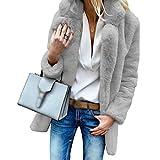 JEELINBORE Plüschmantel Damen Revers Cardigan Kunstpelz Einfarbige Warmen Kunstfell Herbst Winter Mantel Jacke (Licht Grau, CN 3XL)