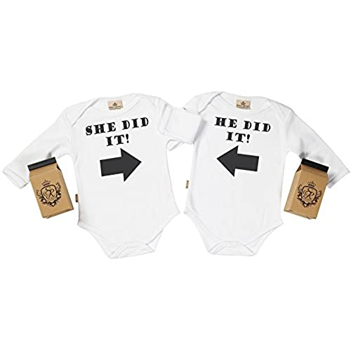 Twin baby gifts amazon sr gift boxed he did it she did it organic baby twins gift set baby twins baby bodysuit set baby twin gift baby twins white 6 12m negle Choice Image
