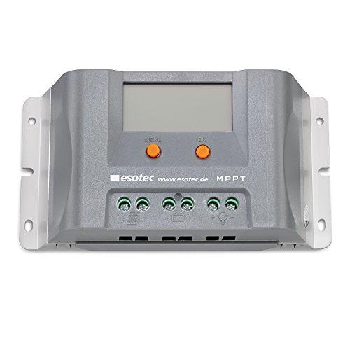 10A Solar MPPT Laderegler mit Display und 2 USB für 12V Solarsysteme, max. Solarmodulspannung 45V, normaler Modus und D2D Modus für Außenbeleuchtung, Solarregler Controller esotec 140010