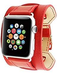 Spritech (TM), diseño de piel de repuesto de Elegance Watchband Barcelet Correa Muñequera con adaptador para Apple Watch, color Rojo