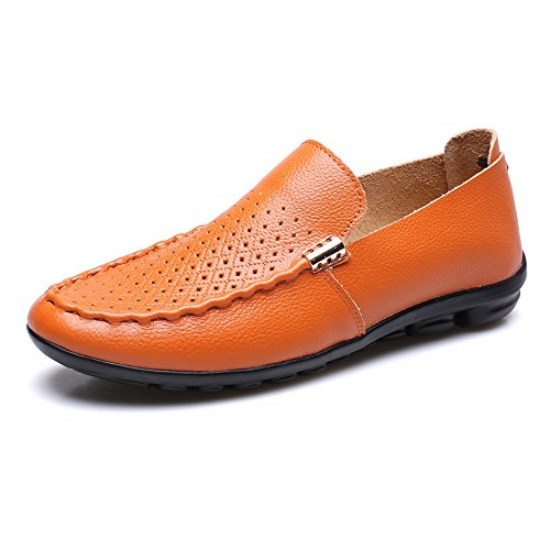 Sunny&Baby Hommes Classique Chaussures Respirant Véritable Cuir Caoutchouc Souple Plat Semelle Décontracté Mocassin pour Messieurs Résistant à l'abrasion ( Color : Orange , Size : 38 EU ) Orange