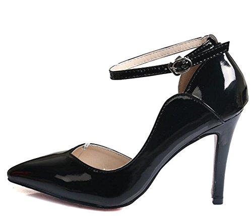 Wealsex Escarpin Vernis PU Cuir Bride Cheville Boucle Bout Pointu Talon Moyen Aiguille 8 CM Femme Noir