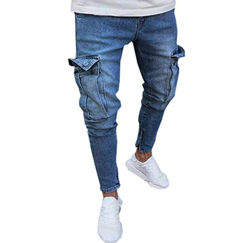 IMJONO Herren Sporthosen Jubiläumsfeier 2019 Herren Stretch Denim Pant Distressed Ripped Freyed Slim Fit Pocket Jeans Hose(Large,Blau) (All For Mankind 7 Jeans Distressed)