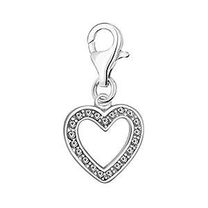 Quiges Charm Anhänger Weiß Zirkonia Offen Herz 925 Silber mit Karabinerverschluss für Bettelarmband