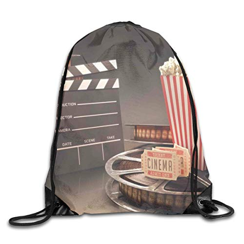GONIESA Fashion New Drawstring Backpacks Bags Daypacks,Old Fashion Entertainment Objects Related to Cinema Film Reel Motion Picture,5 Liter Capacity Adjustable for Sport Gym Traveling (Christmas Light Reel)