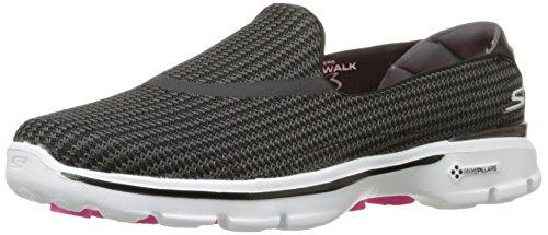 Skechers Women's Go Walk 3 Low-Top Sneakers, Black (Black/White (Bkw)), 3.5 UK
