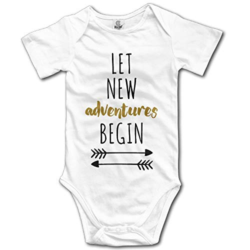 PhqonGoodThing Let New Adventures Begin Unisex Boys Girls Baby Onesies Bodysuits Organic