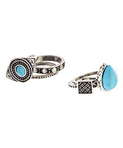 Lux Accessories Poliert Silberfarben & Türkis Graviert Ring Set (Bluse Juwel Hals)