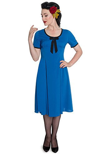 Hell Bunny Alveira Robe de Retro Rockabilly Années 1940 1950 Bleu