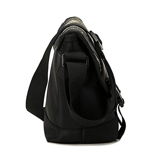 Eshow Herren Canvas Freizeit Täglich Umhängetasche Schultertasche Taschen Schwarze Tarnfarbe