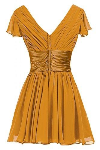 Sunvary una linea Spring, abiti da damigella d'onore Homecoming-Cartamodello per vestiti A maniche corte con collo A V Orange