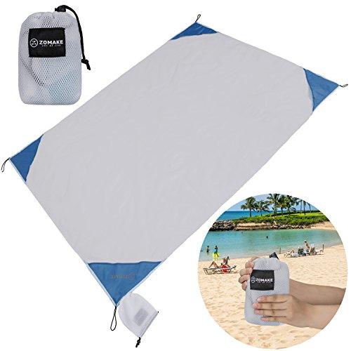 XL Outdoor Stranddecke und Picknickdecke, Ultraleichte Zusammenfaltbar Campingdecke(190X145CM)(Milchig weiß) (Stricken Reisen, Rock)