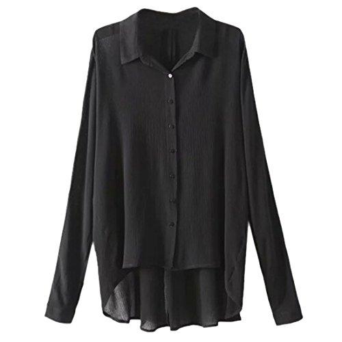 Nouvelle Mode Des Femmes De Chemise Decontractee Lache Ourlet Irreguliere Hauts A Manches Longues Blouse Noir