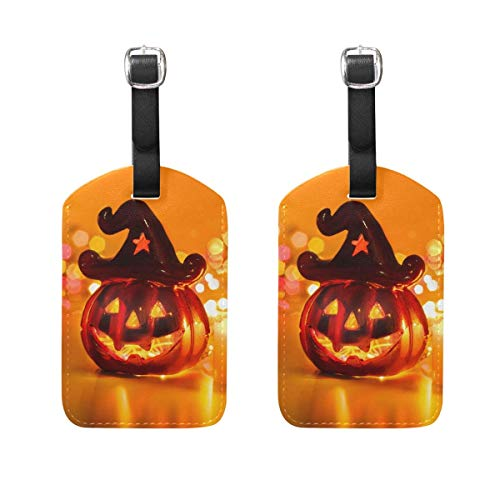 2 PCS Kofferanhänger Halloween Jack-O'-Lantern Candel Suitcase Labels Travel Accessories