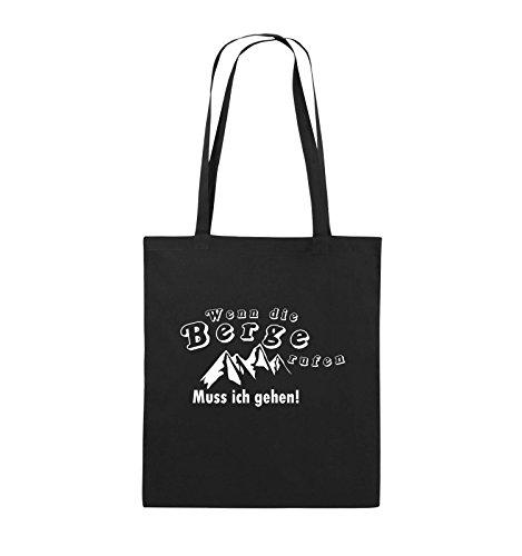 Comedy Bags - Wenn die Berge rufen - BERGE - Jutebeutel - lange Henkel - 38x42cm - Farbe: Schwarz / Silber Schwarz / Weiss