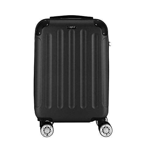 Sunydeal® Valigia Rigida Grande 75 Centimetri 90 Litri, Trolley Valigia Grandi con tsa, ABS ultra leggero, 4 Ruote, Nero