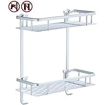 Laimew no perfora el estante del baño, estante de ducha pegajoso de aluminio de la grieta de 2 niveles con el gancho colgante para el champú