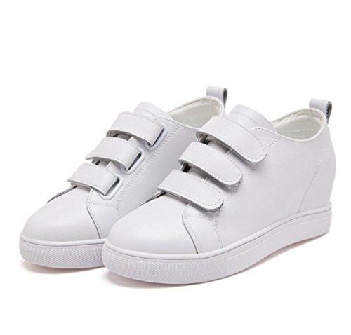 WZG chaussures Velcro chaussures en cuir ont augmenté les femmes célibataires la version chaussures blanches coréenne de chaussures de sport dans le nouveau White