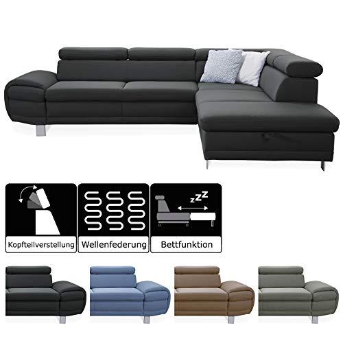 CAVADORE Ecksofa Marool mit Bettfunktion und Kopfteilverstellung / XXL Schlafsofa im modernen Design / 283 x 79 x 229 / Dunkelgrau