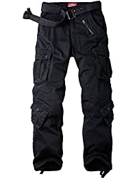 Jessie Kidden Men's Military Wild Combat Loose Cotton Cargo Multi-Pocket Pants With 8 Pockets,Casual Trousers #7533