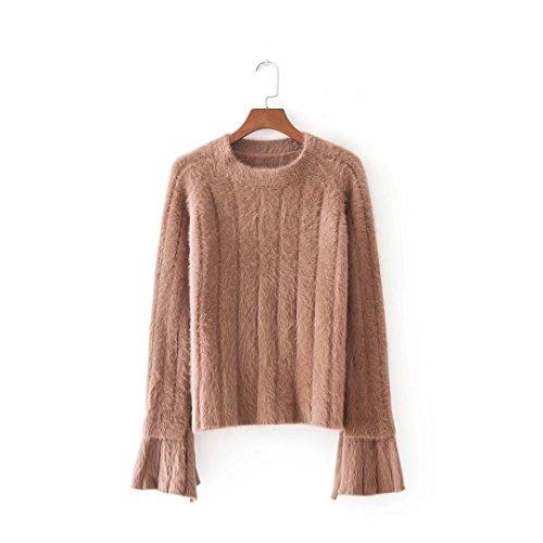 QIN&X Womens Knit Slim col rond Top Pull chandail tricoté de cavalier Kaki