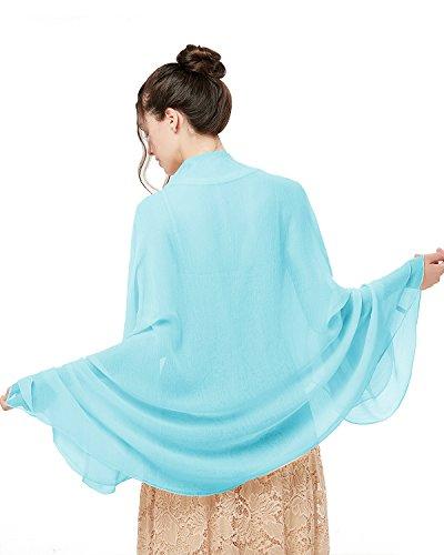 bridesmay Damen Strand Scarves Sonnenschutz Schal Sommer Tuch Stola für Kleider in 29 Farben Sky Blue - Sky Blue Chiffon