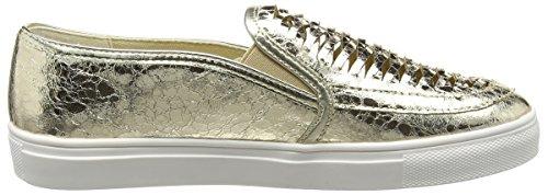 La Strada Gold Cracked Leather Look Slip-on, Espadrilles femme Or - Gold (1443 - cracked gold)