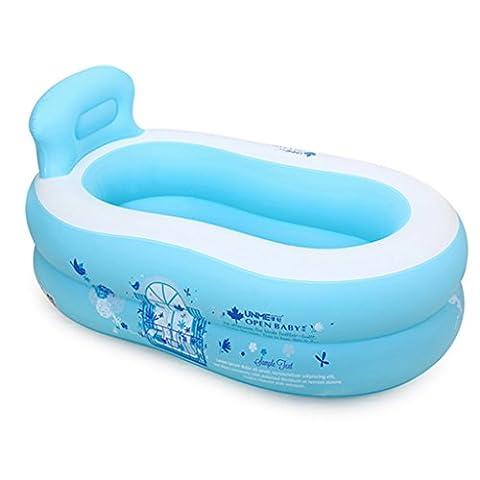 MMM- Baignoire gonflable simple Baignoire de ménage pour adultes Baignoire en plastique pour enfants Épaississement pliant ( Couleur : Bleu )