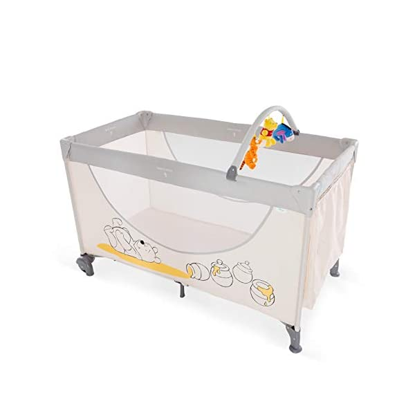 Hauck Dream N Play Go, 5-Part Travel Cot from Birth to 15 kg, 120 x 60 cm, Folding Travel Bed with Folding Mattress, Carry Bag, Play Arch and Toy Bag, Tilt-Resistant, Pooh Cuddles Disney Suitable from birth Includes fold up mattress (60 x 120cm) Folds away into its own carry bag 2