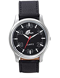 Arum Black Round Shaped Dial Leather Strap Fashion Analogue Watch For Men's And Boy's