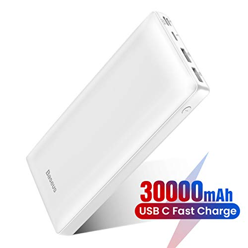 Power Bank Externer Akku 30000 mAh, Baseus USB C Schnelles Aufladen Tragbares Ladegerät für iPhone, iPad, Mac, Kompatibel mit Samsung, Huawei und mehr (Weiß)