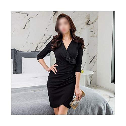 Rocke Slim Bottoming Skirt Temperament Kleid mit V-Ausschnitt und Rüschen (Farbe : Schwarz, Size : S) (Black 70's Fashion Kostüm)