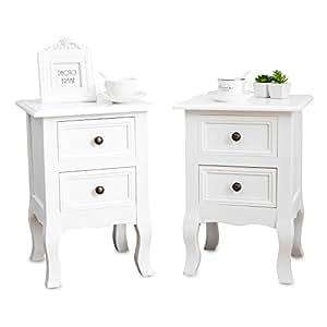 uenjoy une paire de tables de chevet avec 2 tiroirs table. Black Bedroom Furniture Sets. Home Design Ideas