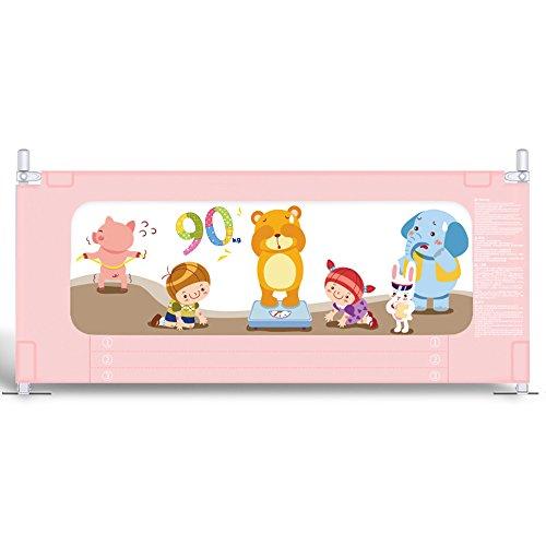 Valla seguridad infantil escalera Brisk- Barandilla De La Cama \\ Cerca De La Cama Valla A Prueba De Roturas Levantamiento Vertical Barandilla De La Cama De Los Niños Deflector (Color : Pink-200cm)