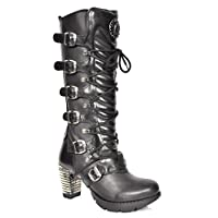 New Rock Black Leather Knee Length Boots Block Heel Gothic Retro Lace Up Shoes (UK 6)