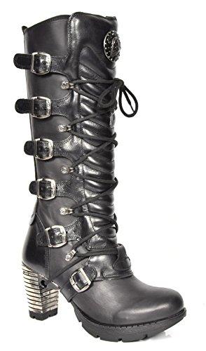 New Rock Damen Schnürsenkel Gothic Stiefel Schwarz Leder Runder Zeh Knielänge Schuhe (EU 41)