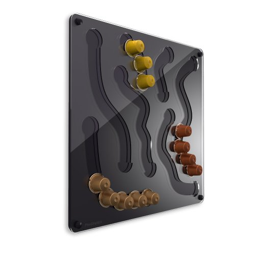 Plexidisplays 1303032 Wand-Kapselhalter für Nespresso-Kapseln, Design Fun, 41 x 41 cm, schwarz
