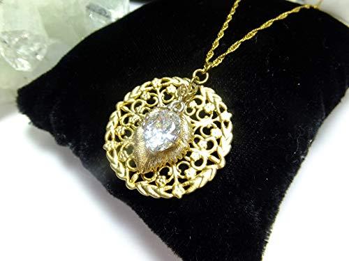 Goldenes Ornament mit Cubic Zirkon sn 925 Sterling Silber Kette mit 24 k.Gold (K Ornament)