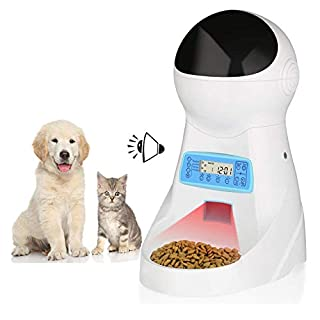 amzdeal Automatic Cat Feeder - 4 Meals Pet Feeder 3L Intelligent Food Dispenser with Timer, Programme Setting, Voice Timing Feeding, LCD Display, for Dogs Cats