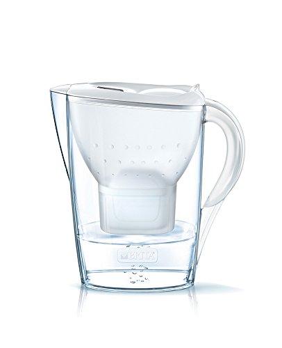 BRITA Marella - Jarra de Agua Filtrada con 3 Cartuchos MAXTRA+, Filtro de Agua que Reduce la Cal y el Cloro, Agua Filtrada para un Sabor Óptimo, Color Blanco