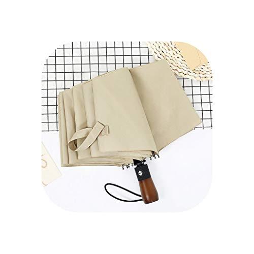 Ombrello creativo da uomo per pioggia e sole, pieghevole automatico, con 10 ossi, manico in legno, da donna, Stivaletti da pioggia zebrati - Bambini (Beige) - AB-122