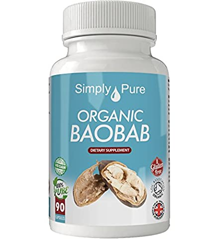 New, Organic Baobab 90x Capsules, 100% Natural Soil Association Certified, High Strength 500mg, Immune Function, Detox, Antioxidant, Improved Skin, Gluten Free, Vegan, Exclusive to Amazon, Simply Pure, Moneyback Guarantee.