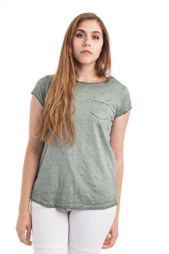 Abbino 8171158 Damen Shirts Tops - Made in Italy - Frühjahr Sommer Basics Tshirts T Damenshirts Damentops Kurzarm Taillenlang Rundhals Gepunktet Sale Feminin Lässig Sexy Spitze Festlich - 5 Farben Grün